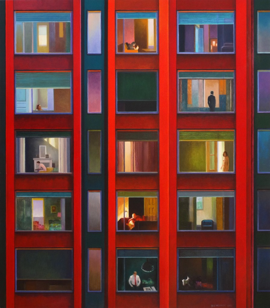 Red Apartments - Oil on Belgian Linen 104 x 92cm