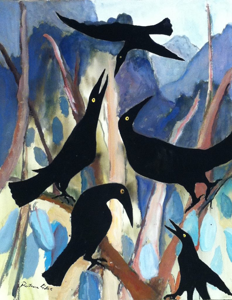 Currawongs in the Tasmanian Mountains 2017, watercolour, 65 x 51cm, Patricia Giles