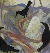 Currawongs in the branches, 42 x 56cm, Patricia Giles