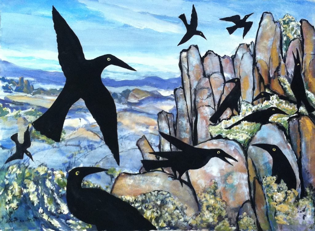 Currawongs on the Organ Pipes Mt Wellington 2017, watercolour, 57x76cm, Patricia Giles