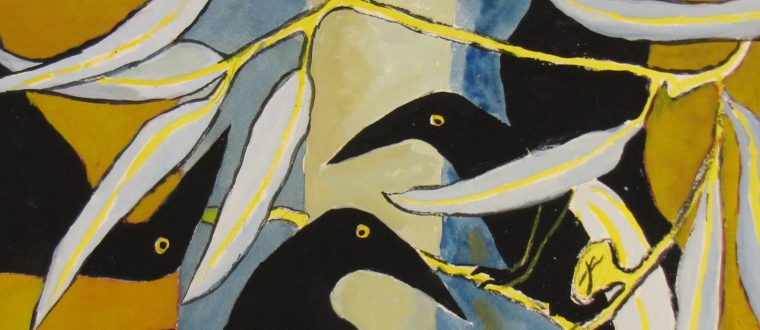 Currawongs Gold & Blue, Patricia Giles