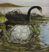 Swan Nest - Imagined after camping near Swan Wick, 56 x 76cm, Patricia Giles