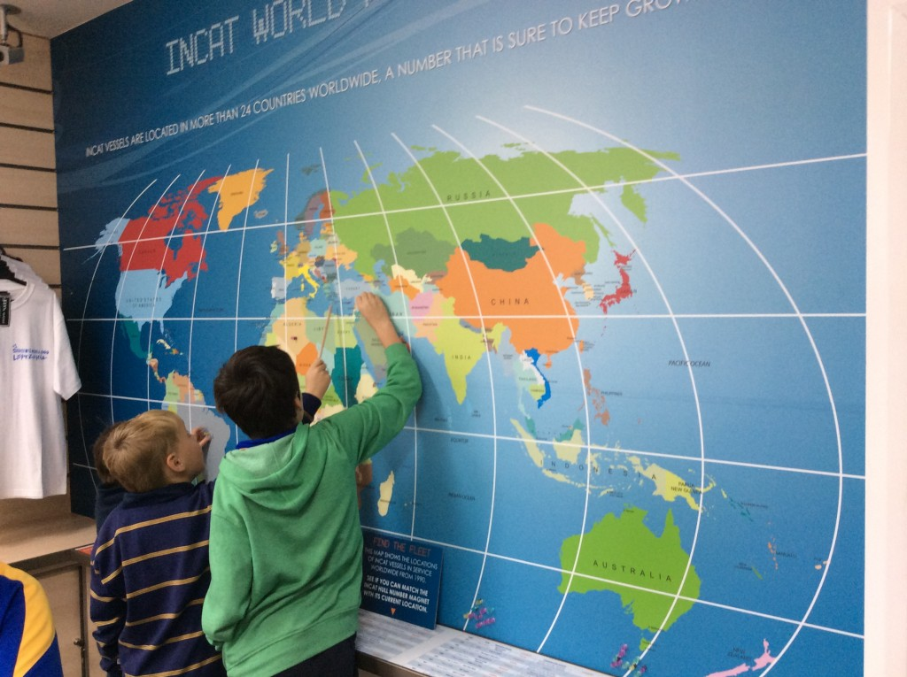 Students locating vessels around the world