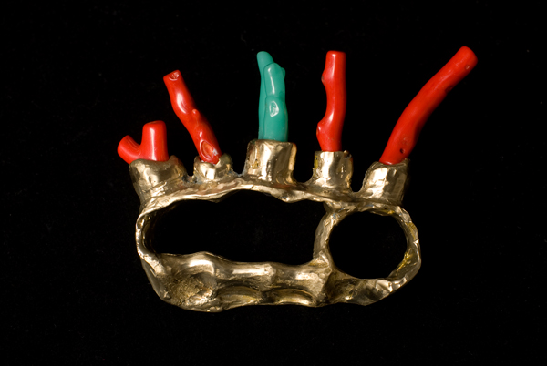 Marique Potens (Pyrate Queen Paraphernalia), brass knuckles, coral and arylic, 6 x 10 x 5 cm