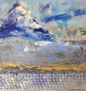 Forever April - encaustic and mixed media on board