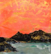 Golden Hour - encaustic and mixed media on board