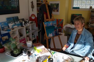 Christine Moore at work in her studio