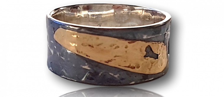 Hand textured, oxidised sterling silver with 18k gold