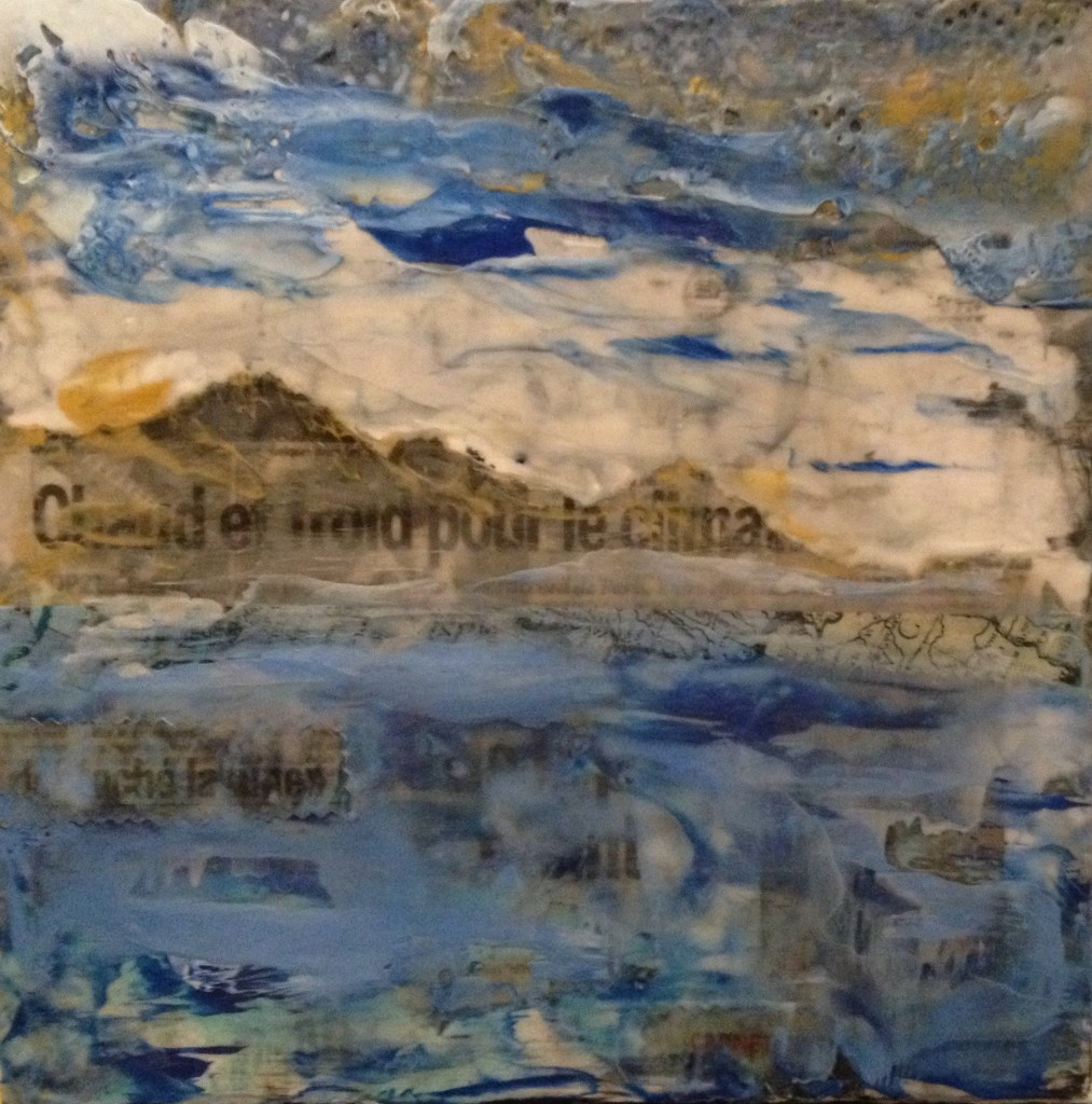 Urgent - encaustic and mixed media on board