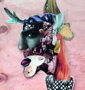 Uncanny valley. collage on board 68 55 x cms.