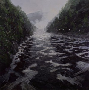 _Foam Lines-Cataract Gorge_137cm 137cm Oil and Wax on Linen-2926