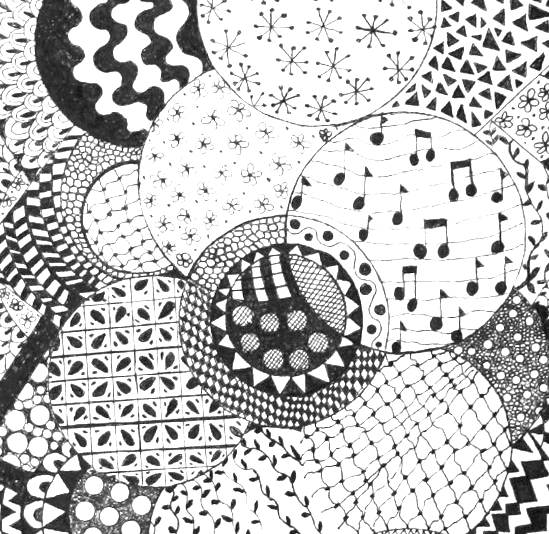 Zentangle Composition #1 - pen & ink on canvas (detail)