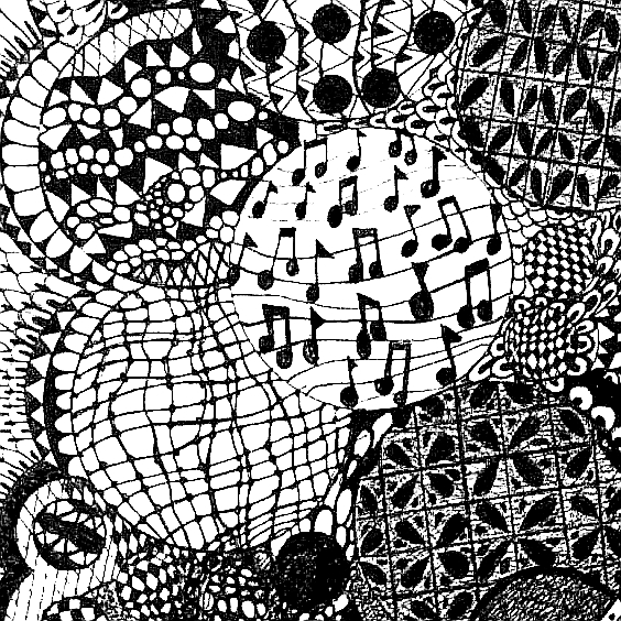 Zentangle Musical - pen & ink on canvas