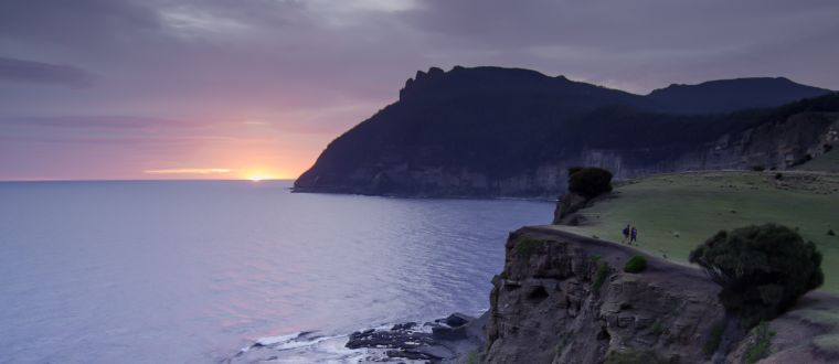 Sunrise a -Fossil Cliffs with Bishop and Clerk in the background, Maria Island National Park