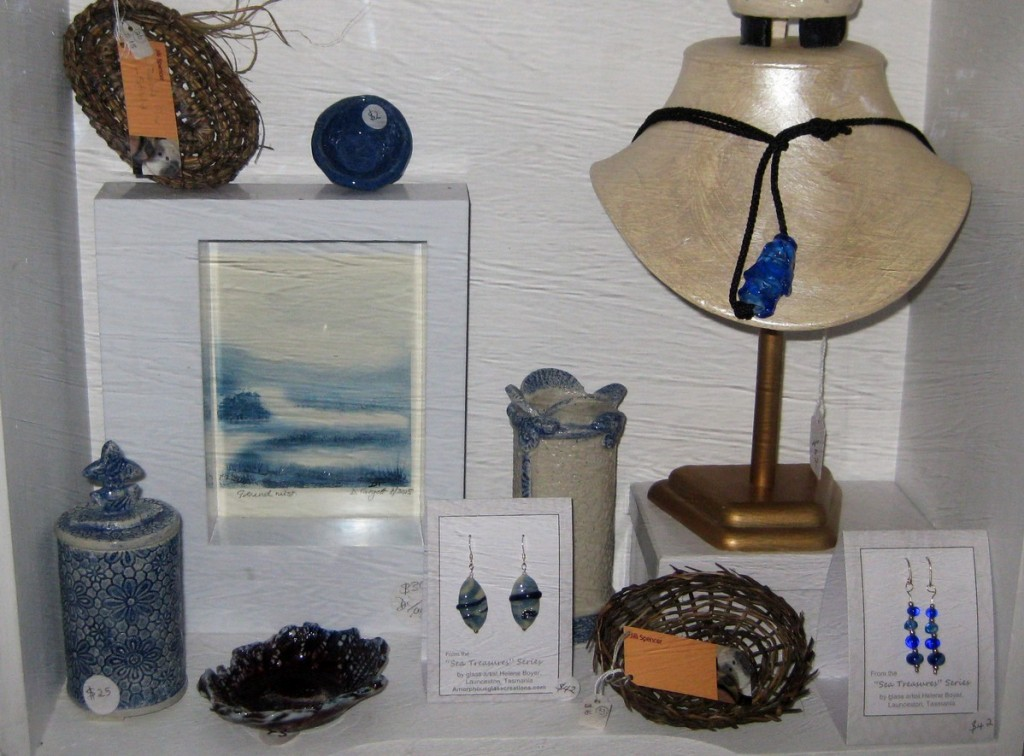 Image of baskets, watercolour, glass bead jewellery, ceramics