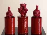 modelling clay, dyed resin & tomato cans