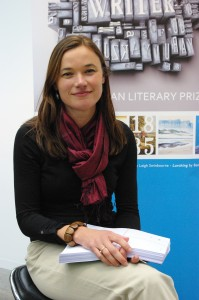 Katherine Johnson, shortly after winning the University of Tasmania Prize for best unpublished manuscript as part of the 2013 Tasmanian Literary Prizes (now the Premier's Literary Prizes)