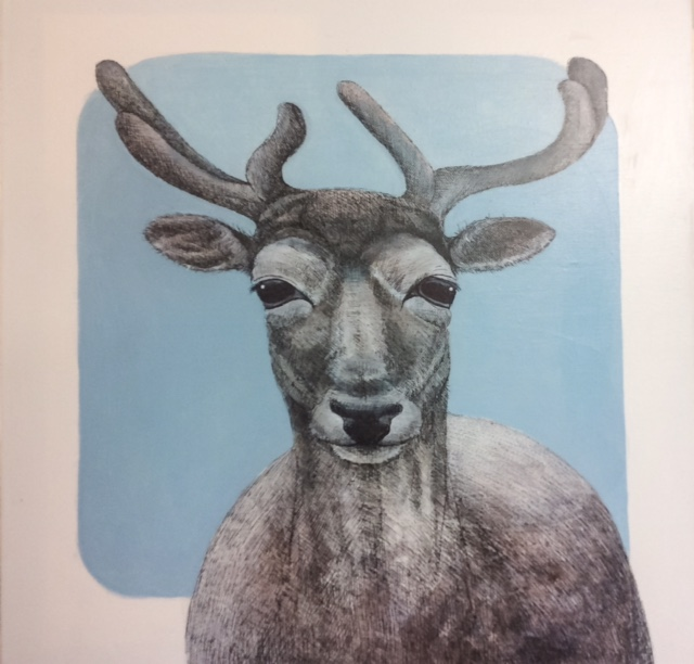Reindeer - acrylic, pen and ink on canvas