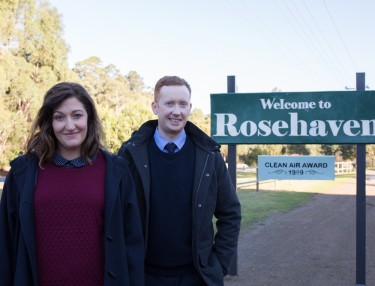 Luke McGregor and Celia Pacquola on the set of 'Rosehaven'