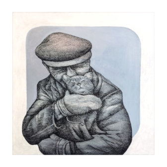 man and Cat - acrylic, pen and ink on canvas