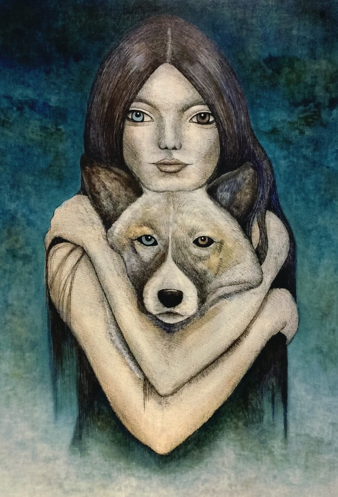 Girl and Dog - acrylic, pen and ink on canvas