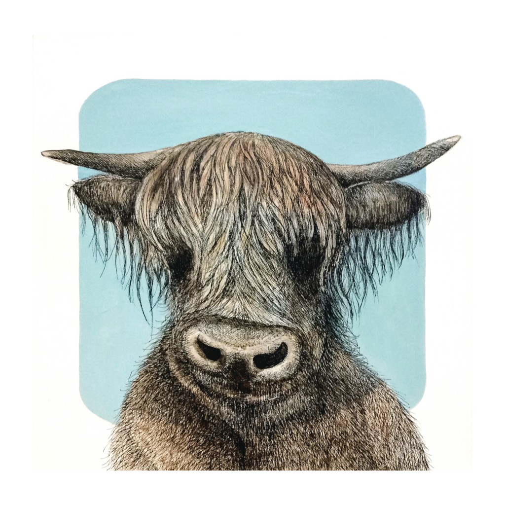 Cow - acrylic, pen and ink on canvas