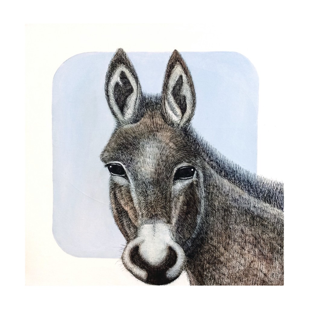 Donkey - acrylic, pen and ink on canvas