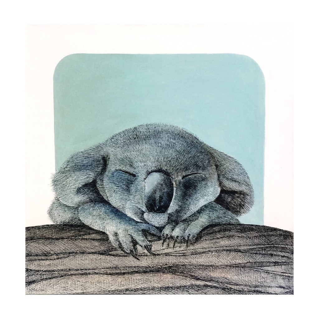 Koala - acrylic, pen and ink on canvas