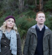 Katie Robertson and Luke McGregor on the set of Rosehaven