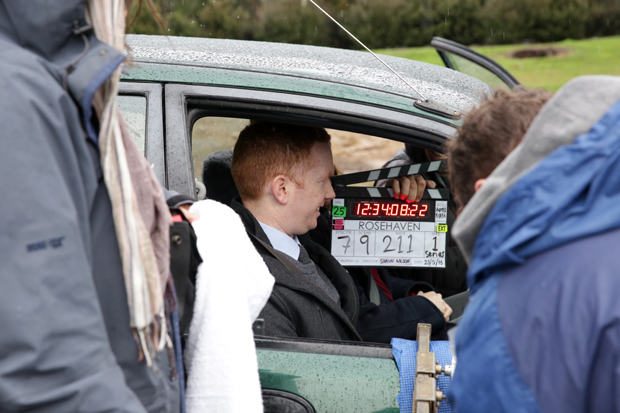 Luke McGregor on the set of 'Rosehaven'