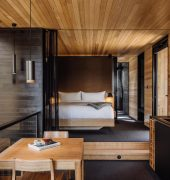 Pumphouse Point Retreat by Jaws Architects featuring Simon Ancher Floating bed and Prue dining setting, Simon Ancher, 2017. Photographer: Adam Gibson