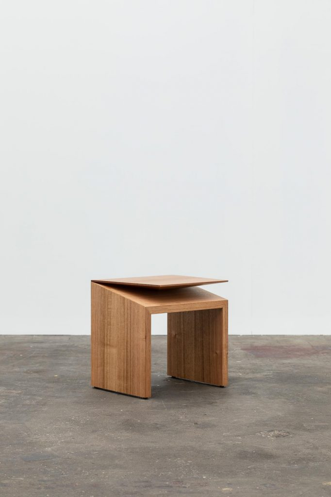 Clipped wing stool/side table, Simon Ancher, 2018. Photographer: Adam Gibson
