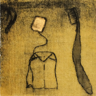 unique state drypoint, ink and goldleaf on kozo paper