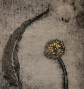 unique state drypoint, ink and goldleaf on kozo