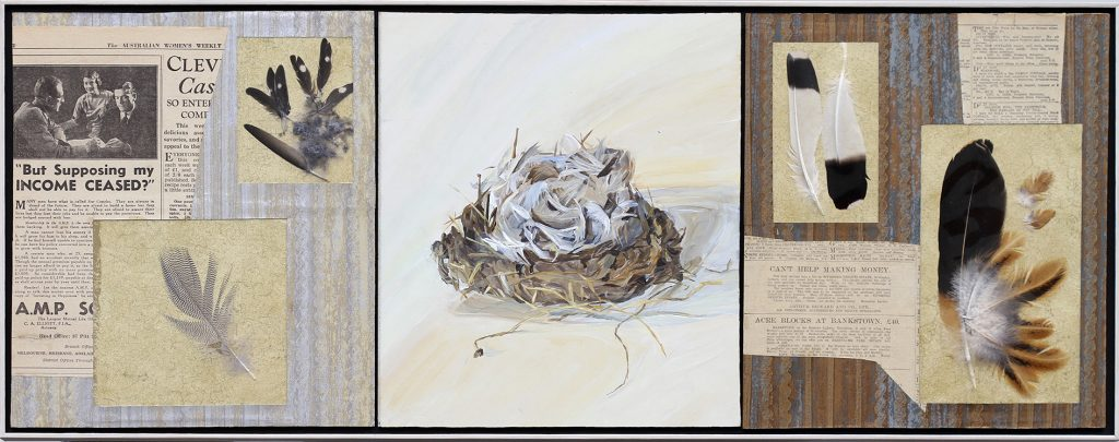 Feather-Your-Nest-Nesting-Series-2016-Triptych-acrylic-and-collage-on-masonite-31-5-x-80cm-Henrietta-Manning-Photographer-Simon-Olding