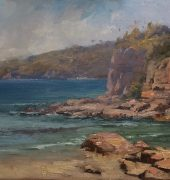 Clifton Beach Cliffs, 46 x 92cm