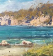 On Location - Taroona Beach Cliffs, 30 x 76cm, Leanne Halls