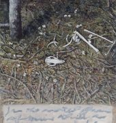 'Wallaby bones near Barney Wards lagoon with Basho', '16-'17, oil on canvas, 66.5x50cm.