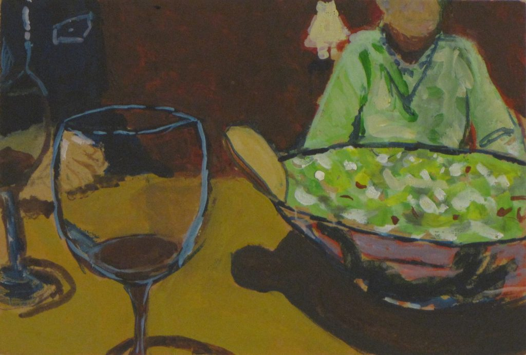 Wine and Salad, 2017, gouache on mdf, 10 x 15cm