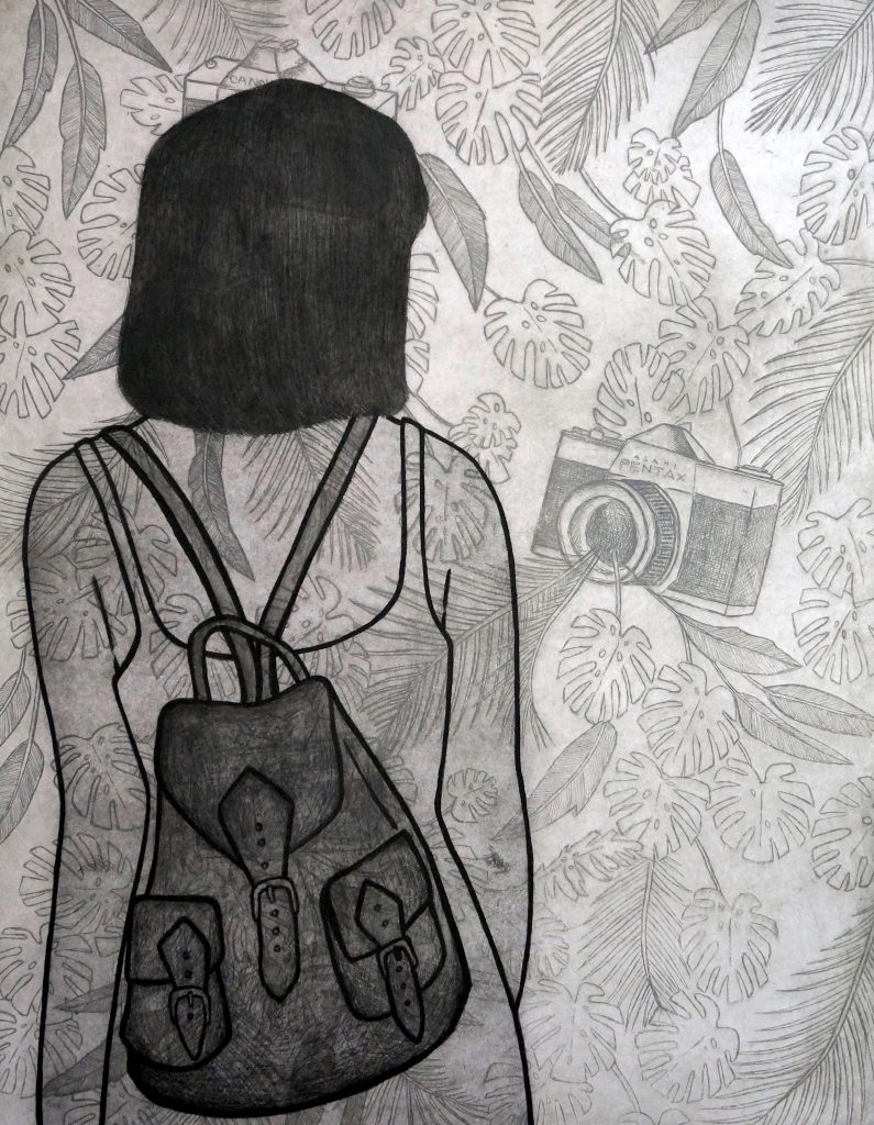 12. The Tourist, multilayered etching, 70 x 50cm