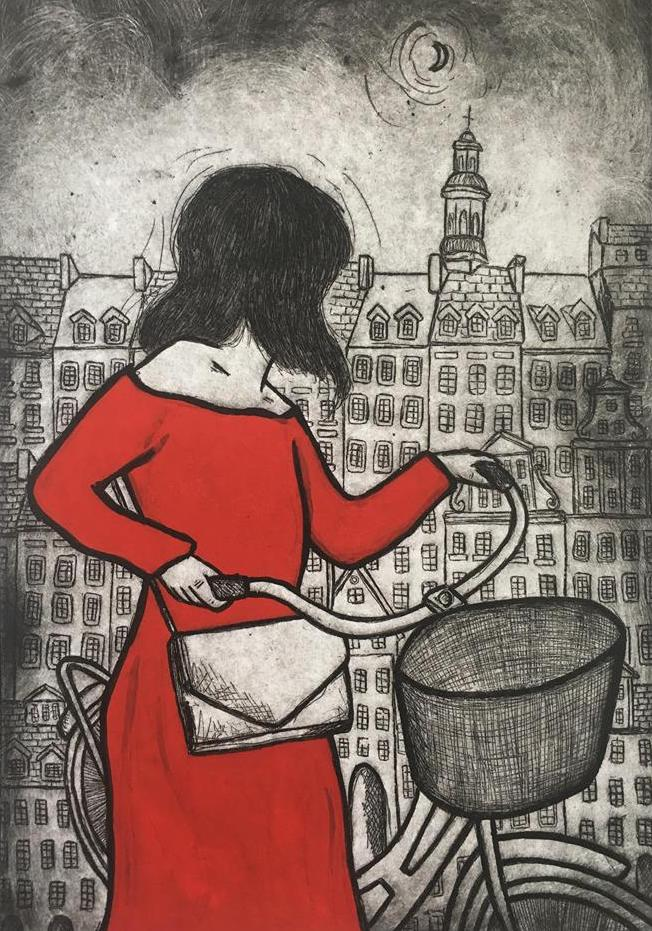 16. a. Travelling Bicycles, 55 x 95cm