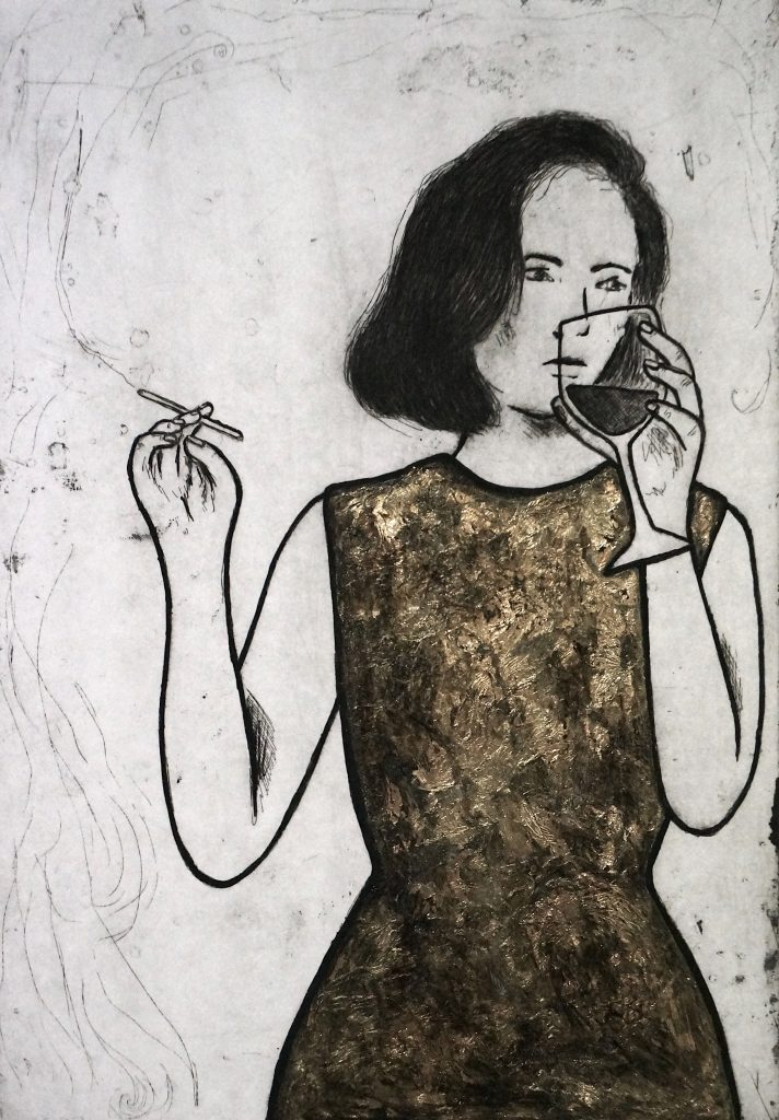 18 A Gold Affair, multilayered etching, 29.5 x 19.5cm