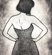 19. Lady in Polka Dots, multilayered etching, 29.5 x 19.5cm