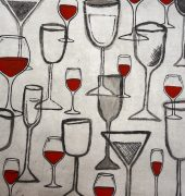 22. A Wine a Day, Keeps the Doctor Away, multilayered etching, 45 x 70cm
