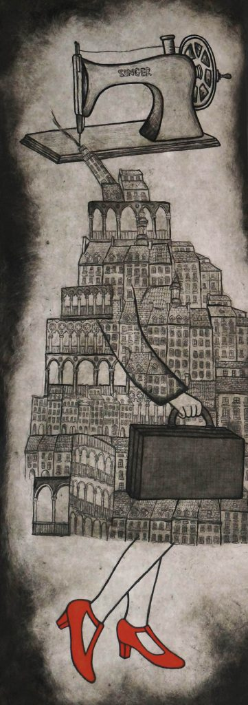 4. A Tailored Expression, multilayered etching,100 x 40cm