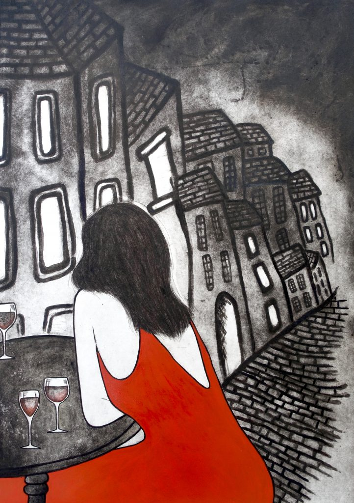 5. A Romance in Porto, multilayered etiching, 100 x 70cm