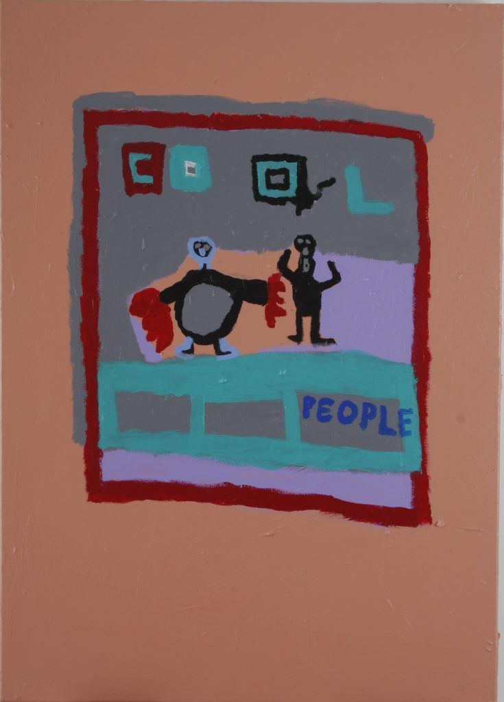 Cool People, acrylic & oil stick on canvas
