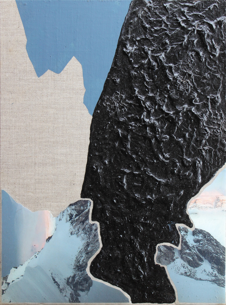 Breaking Ice, Collage, Acrylic and Resin on linen, 30x40cm, Eloise Kirk, 2017