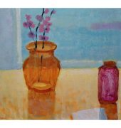 Jock Young - orange vase and spring blossom