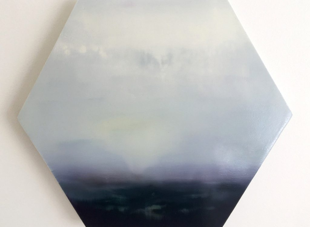 Foggy Lake, oil on gesso on aluminium panel, 34 x 39cm, Sweet & Shore